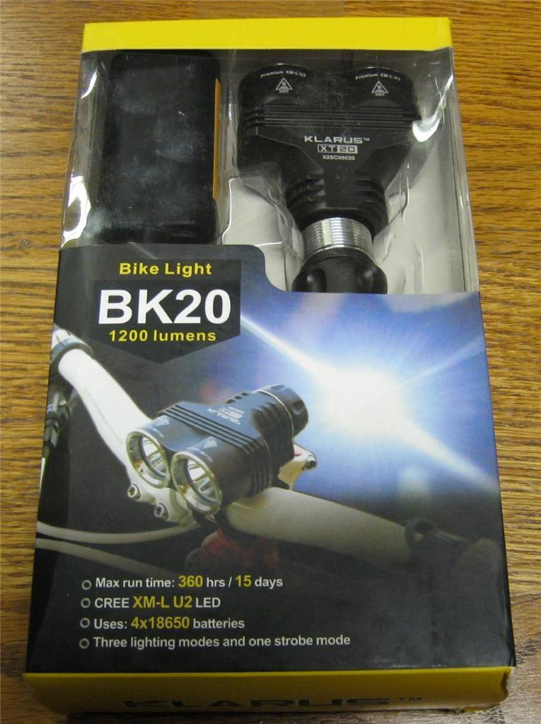 NEW Klarus BK20 RECHARGEABLE Dual Head 1200 LUMEN Bike Bicycle Light XM-L U2 LED