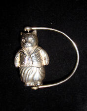 WH Collins? Sterling Silver Beatrix Potter Tom Kitten Teething Ring Baby Rattle