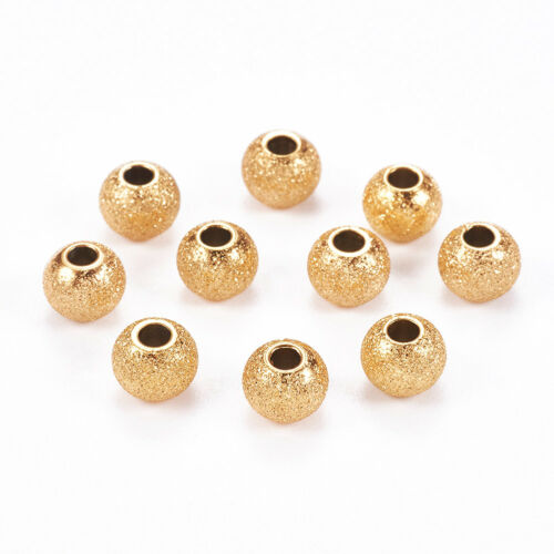10//20pc Acier Inoxydable 304 Stardust Perles Rondes 6-8 mm Spacer Finding Pick Couleur