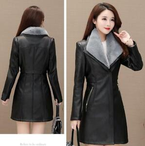 Women-Trench-Coat-Faux-Leather-Fur-Lined-Thicken-Fleece-Jacket-Outwear-Fur-Parka