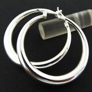Hoop-Earrings-Real-925-Sterling-Silver-S-F-Ladies-Classic-Drop-Dangle-Design