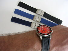 22mm Blue Rubber Silicon Deployment Scuba Diver watch band strap IW SUISSE USA