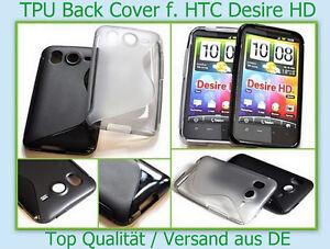 Tasche Case Back Cover HTC Desire HD Silikon Bumper Etui Schutz hülle Schale TOP