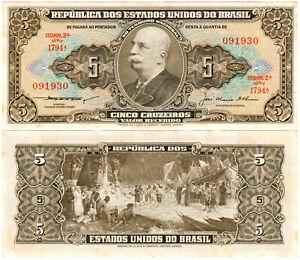 Brazil-5-Cruzeiros-P-158c-1953-Serie-1794A-Tesouro-Nacional-UNC