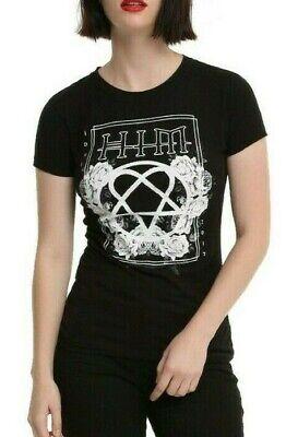 HIM Rose Heartagram Women Black V-Neck T-Shirt Rock Band Tee Shirt