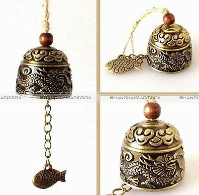 Dragon/Fish Chinese Oriental Lucky Metal Feng Shui Brass Wind Chime Bell