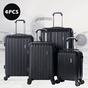 4PCS-Luggage-Travel-Set-Bag-ABS-Spinner-Suitcase-Lock-Black-16-034-20-034-24-034-28-034