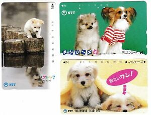 3-Collectible-PHONE-cards-JAPAN-NTT-03-Dog-Dogs-Puppy-Puppies