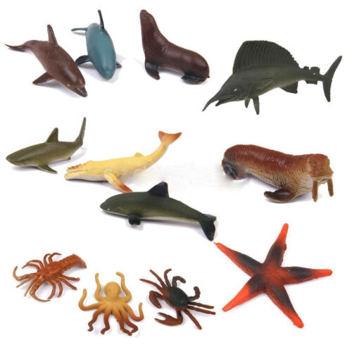 12 Plastic Ocean Animals Figure Sea Creatures Model Toy Dolphin Turtle WhaleyWQT