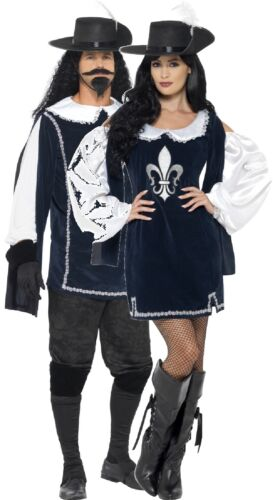 Couples Ladies AND Mens Musketeer TV Book Film Fancy Dress Costumes Outfits