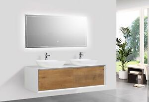 Elegante mobile bagno FIONA, 140cm, bianco opaco e rovere, con o ...