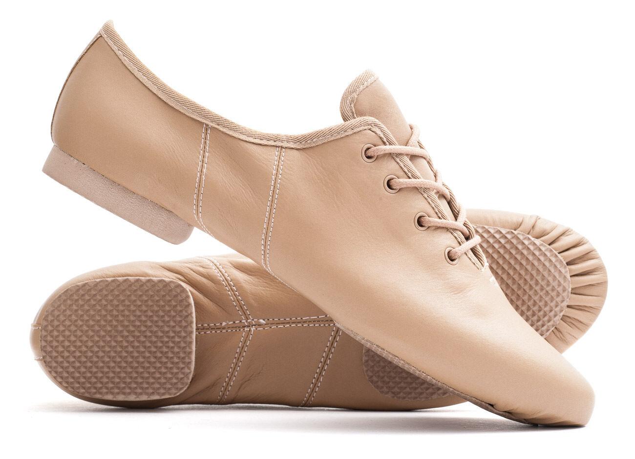 Tan, Black Or White PU Lace Up Rubber Split Sole Jazz Dance Practice Shoes Katz
