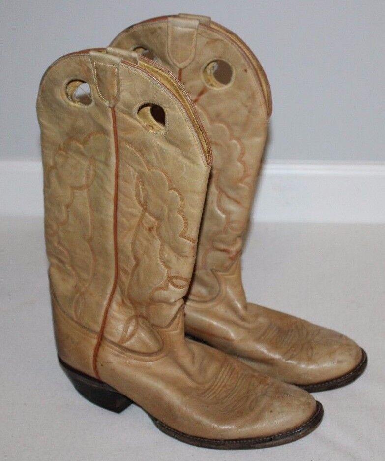 Tony Lama Cowboy Stivali Uomo 9 Donna 10.5/11 Tan/Brown Ranch Riding Pelle West