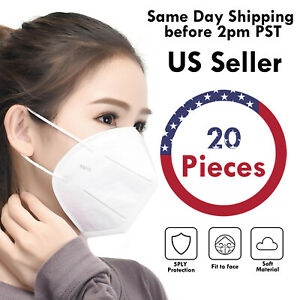 20 PCS KN95 5Layers Breathable Disposable Respirator Face Mask Non Medical Cover