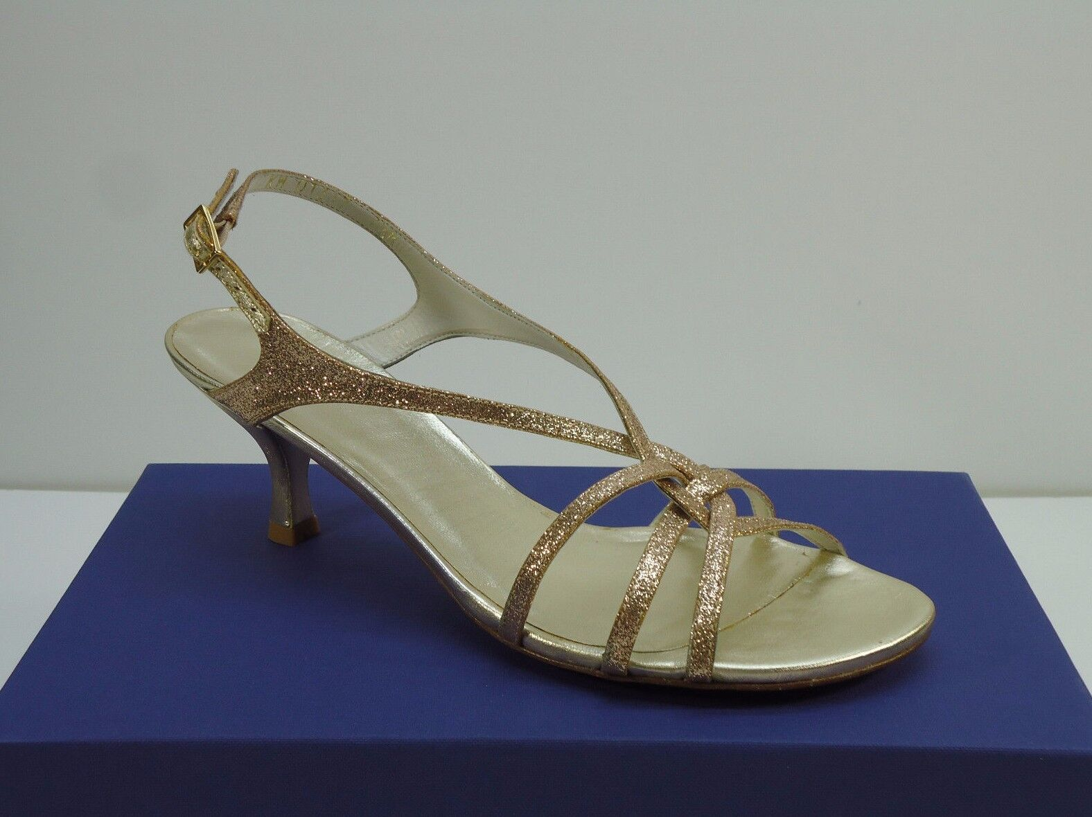 Stuart Weitzman Zone Open-Toe Sandals Sand Mini Glitter Size 7.5 M