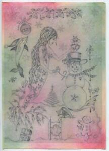 CHRISTMAS MERMAID OCEAN NAUTICAL WINTER ORIGINAL PASTEL PRINT ON ANTIQUE PAPER