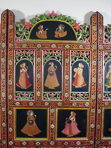 HAND CARVED HAND PAINTED INDIAN WOOD SCREEN ROOM DIVIDER 4 PANELS