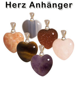 Gemstone-Heart-Pendant-Rounded-Eyelet-Silver-Colored-Various-Hearts