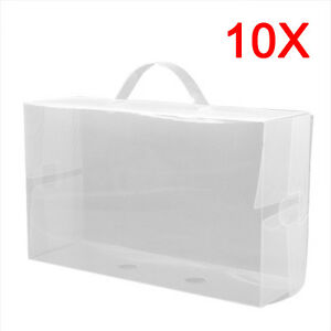 10-x-Ladies-Clear-Plastic-Shoe-Storage-Box-Stackable-Foldable-Boxes-Trainers-New