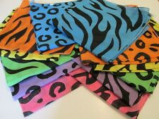 12 Neon ANIMAL PRINT Cotton BANDANNAS BANDANAS party supplies FREE S/H scarf