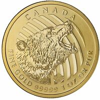 Canadian 1oz Gold Roaring Grizzly Bear