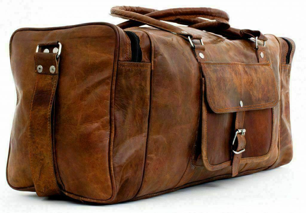 Men's Large 32 Travel Bag Genuine Vintage Leather Duffel Weekend Overnight Gym