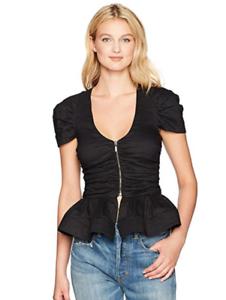 Nicole Miller Woherren Cotton Metal Peplum Top in schwarz Größe L NWT