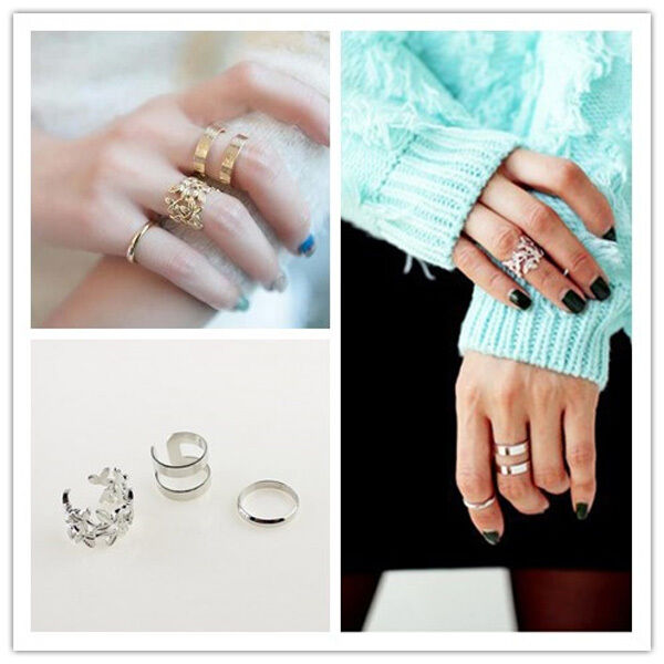 New Fashion Women's Metal Gold Silver Plated Leaf Above Knuckle Finger Ring Sets