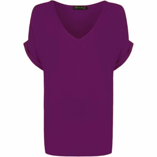 WOMENS BAGGY FIT V NECK GIRLS TURN UP BATWING TOP SUMMER OVER SIZED T-SHIRT 8-26