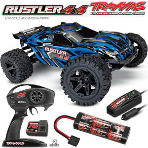 Traxxas 1/10 Rustler 4x4 Brushed Stadium Truck w/Radio/DC Charger/Battery Blue