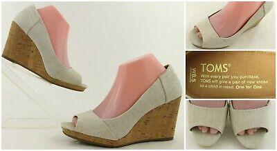 TOMS Stella Peep Toe Cork Wedge Sandals