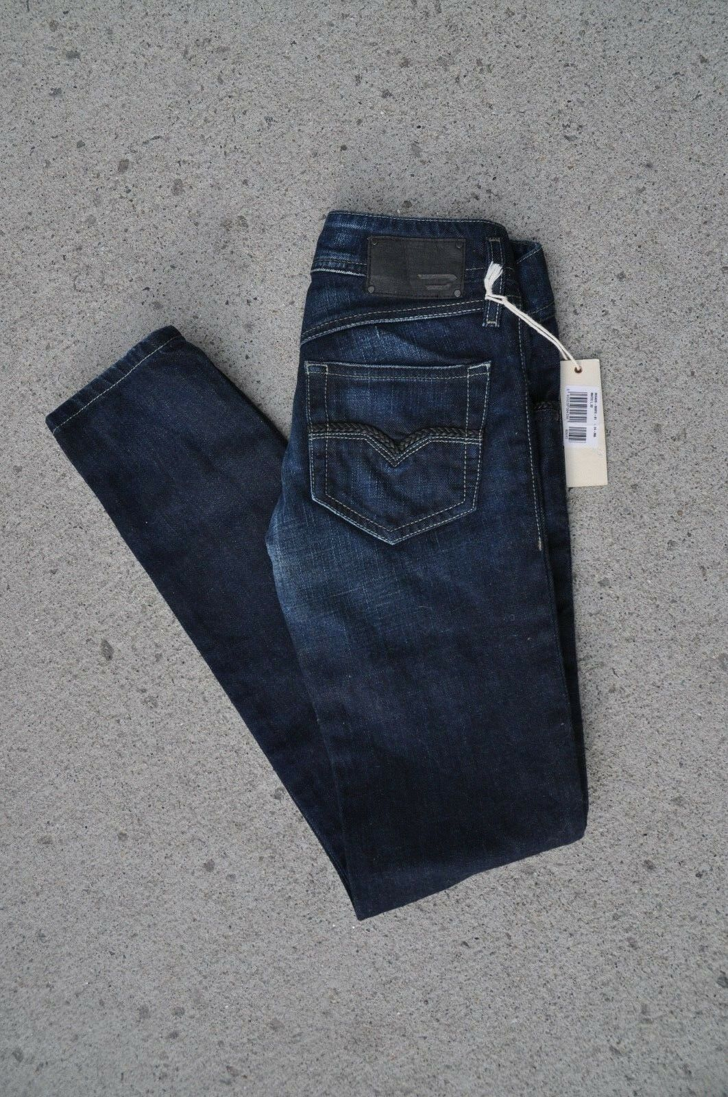 228 NWT Diesel Matic Womens Dark Wash Denim Jeans Faux Leather Studded 24 x 32