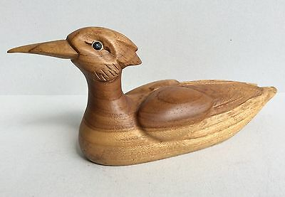 ARISA Wood Duck Figurine Made In COSTA RICA Home Decor Wooded Animal Sculpture