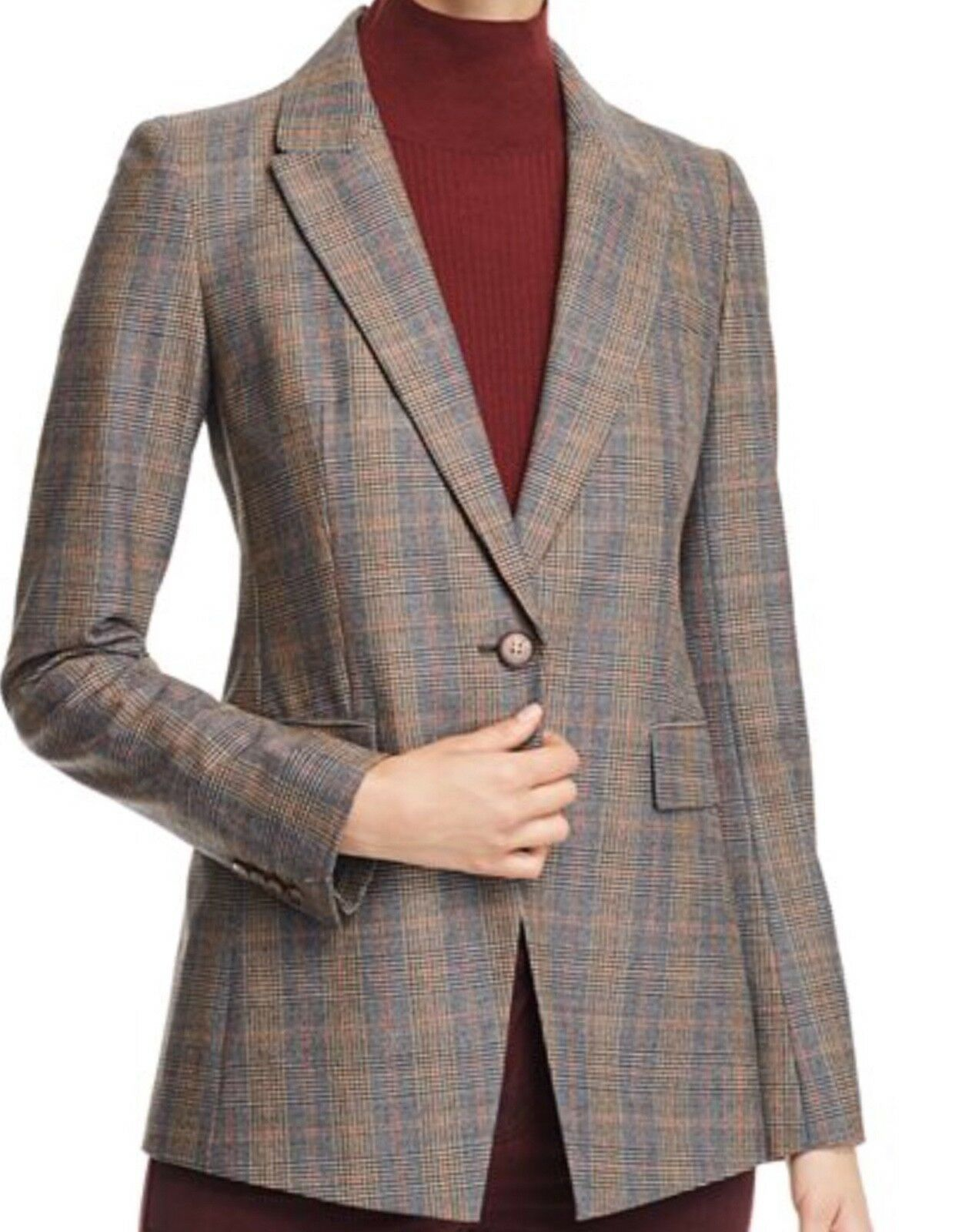 Lafayette 148 New YorkHeather Glen Plaid Blazer Size10 multicolord mainly brown