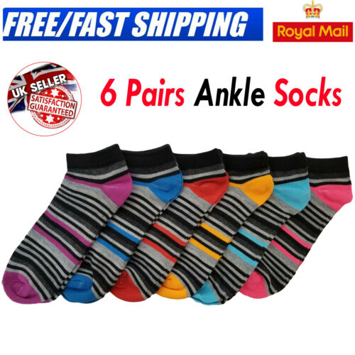 6 Pairs Mens /& Womens Trainer Socks Cotton Ankle Liner Sports Work Sizes 6-11