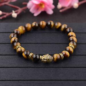 Men-Women-Natural-Gemstone-Beads-Lava-Rock-Stone-Bracelet-Lion-Buddha-Head-Bead