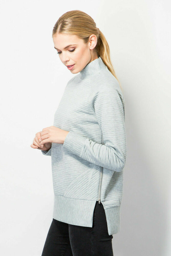 Mesdames Pull Femme Encolure Polo Côtelée Casual Side Zip Fashion Gris Taille 6-16