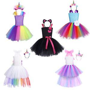 7fe2c9077 Kids Girls Cartoon Outfit Tutu Rainbow Dress Princess Cosplay Party ...