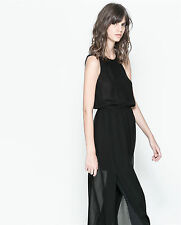 ZARA TRF BLACK EMBELLISHED SHOULDER DRAPED MAXI DRESS S 8 10!