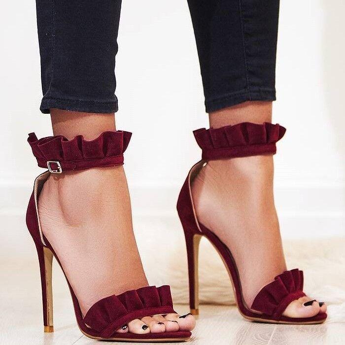 Da Donna Vogue Fuax alla Caviglia in Pelle Scamosciata FALBALA strapcstiletto Sandali Scarpe Da Sera Sogo