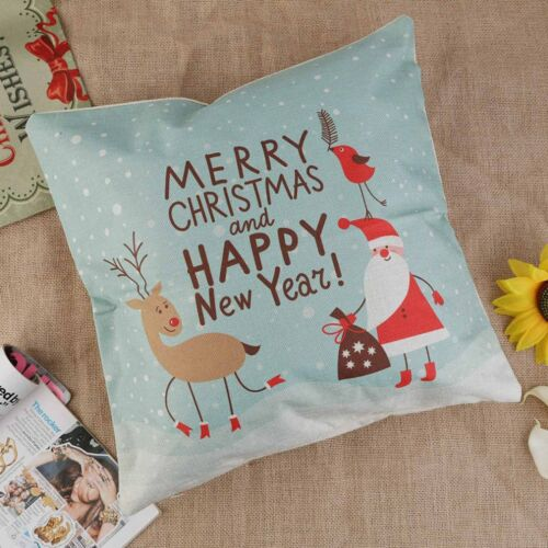 Premium Vintage Linen Christmas Sofa Bed Home Decor Pillow Case Cushion Cover