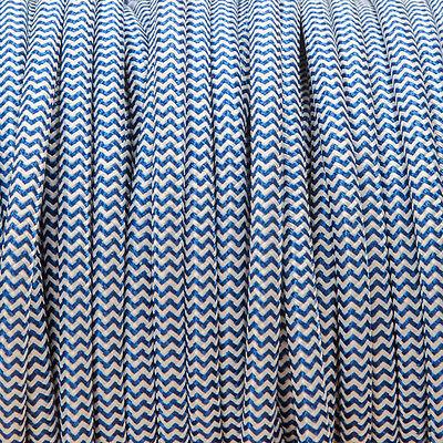 Royal blue /& white Rond Tressé Tissu Câble 3 cœurs 0,5 mm pour tous les d/'éclairage