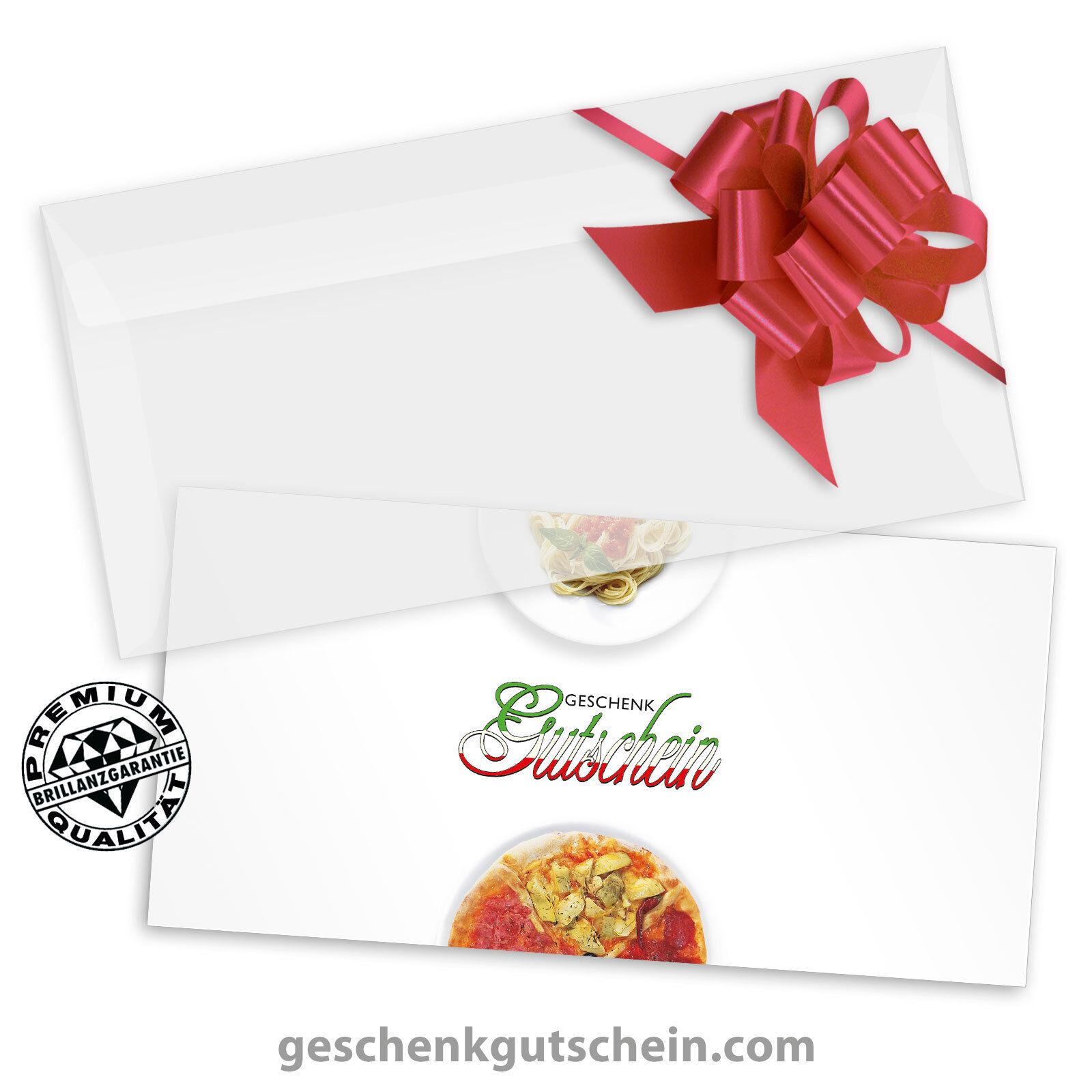 Gutscheinkarten  DINlang  mit KuGrüns und Schleifen für Italienische Rest. G9204
