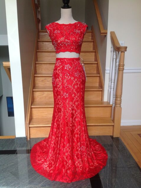 Jovani 24241 Red 2pc Lace Prom Dress Gown
