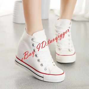 Women Trainer Canvas Lace Up Wedge Hidden Sneakers Platform Creeper Casual Shoes