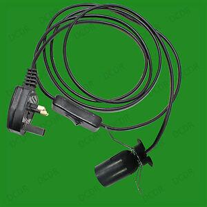 E27-Noir-Ampoule-Socket-Switched-ES-Lampe-Support-suspension-abat-jour-pince-a-ressort