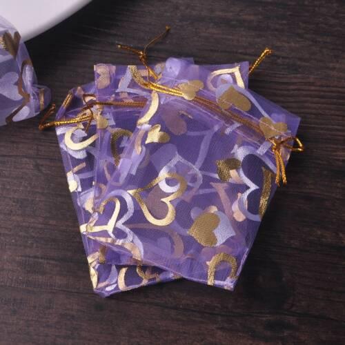 100pcs Heart Pattern Sheer Gauze Organza Wedding Gift Candy Bags Jewelry Pouches