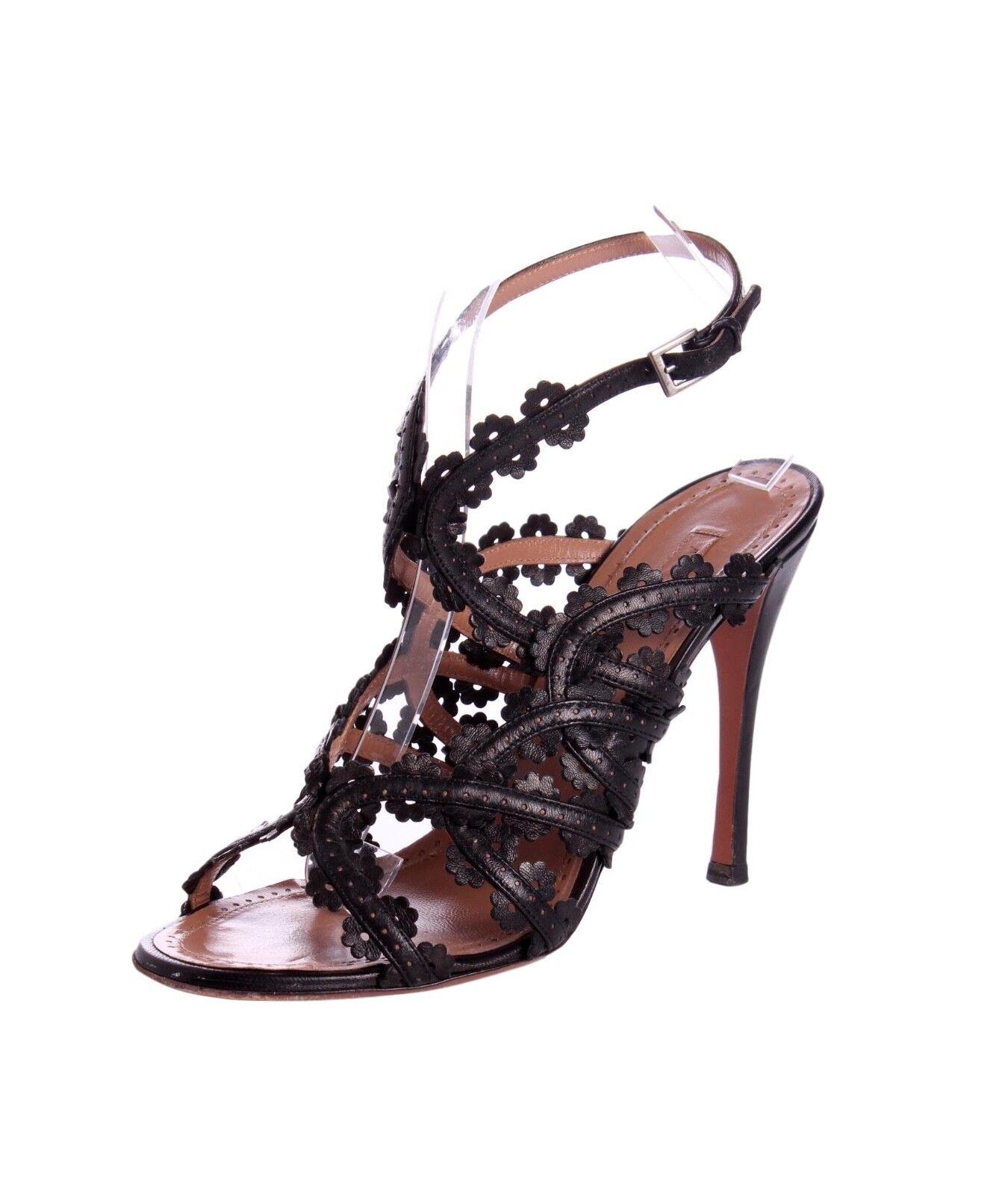 ALAIA Black Leather Floral Laser Cut - Cage Slingback Sandal Heels - Cut US 8.5 ca9baf