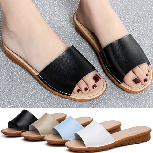 Women/'s Low Heel Casual Leather Shoes Flip Flop Summer Slippers Ladies Sandals