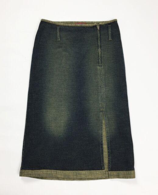 easy blues gonna jeans lunga denim blu w28 tg 42 usato spacco vintage T3968